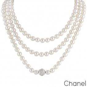 Chanel White Gold Diamond & Pearl Necklace